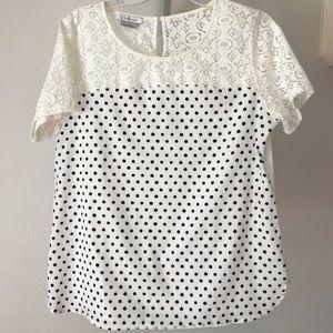 Van Huesen Black & White Polka Dot & Lace Shirt